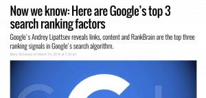 谷歌排名因素文章