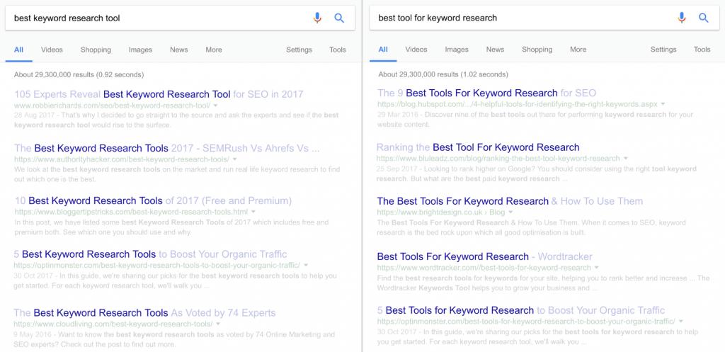 不同关键字搜索结果对比