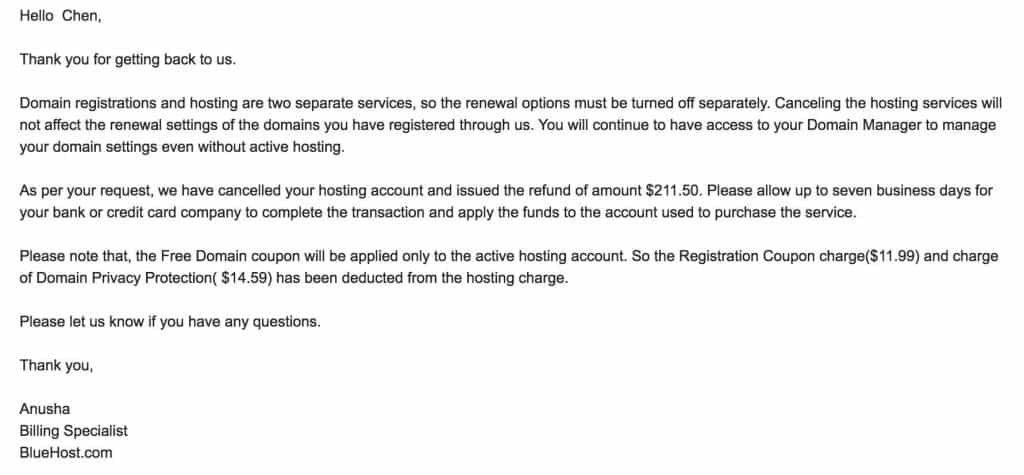 Bluehost退款最终确认邮件