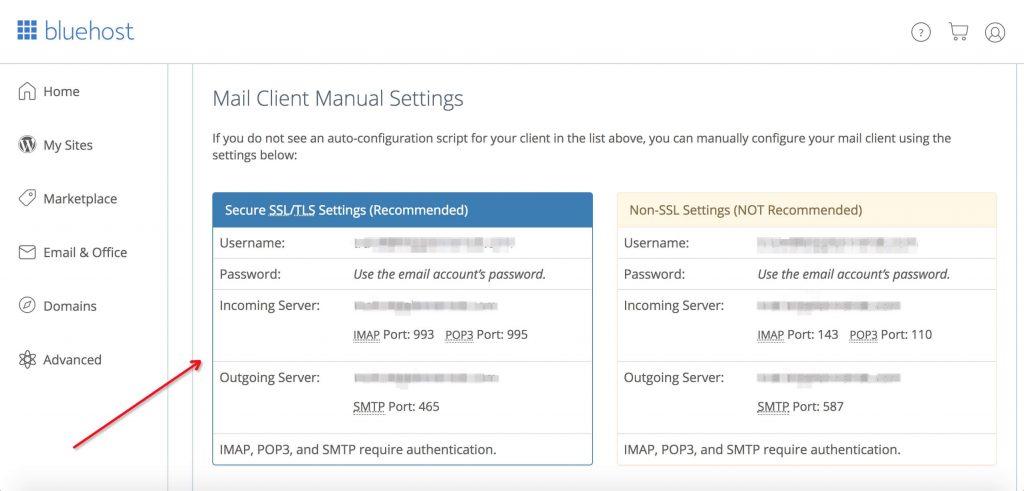 Bluehost网站邮箱客户端手动设置参数