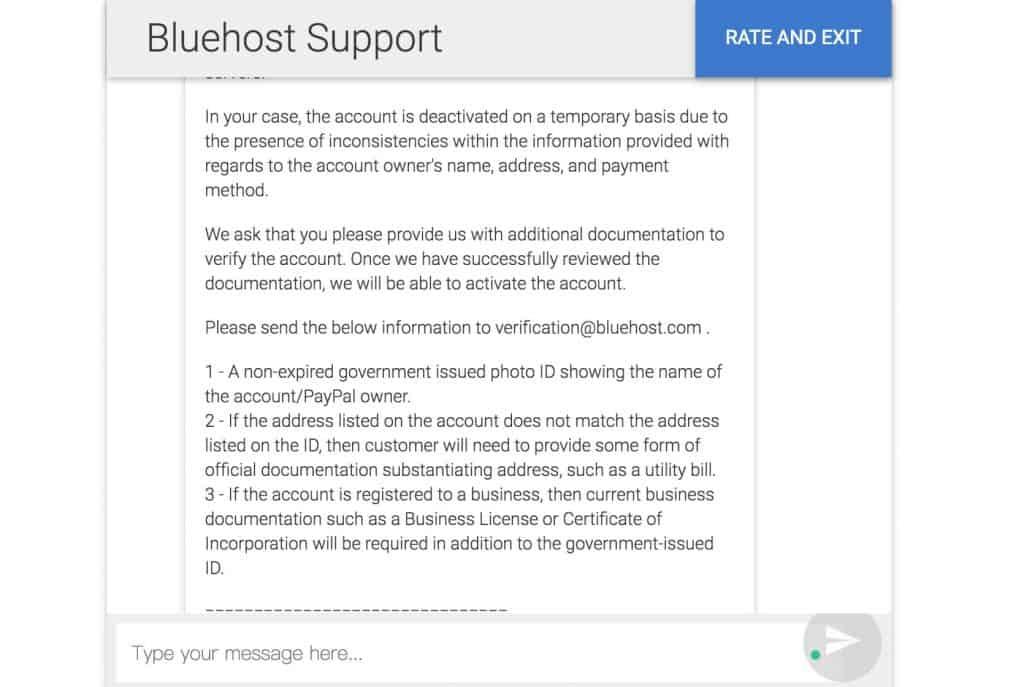 Bluehost 技术支持要求提供的认证信息截图