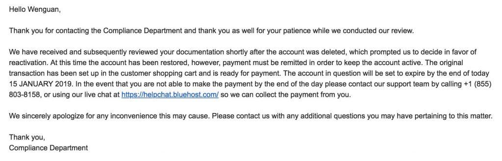 Bluehost 认证通过回复邮件