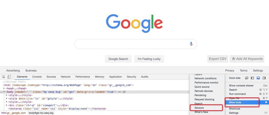 Chrome模拟定位步骤二
