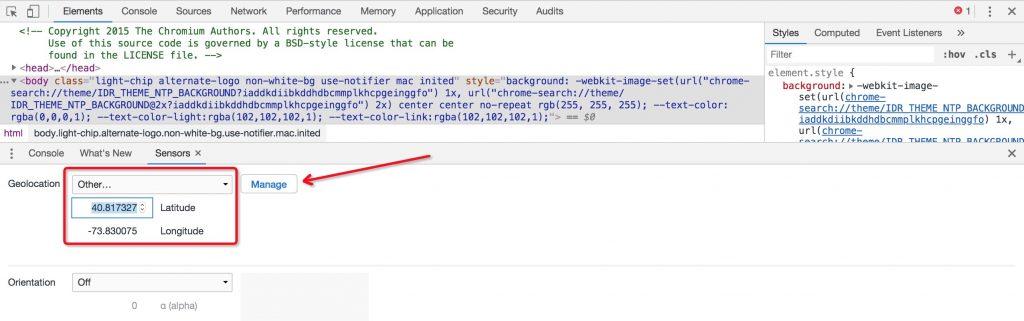 Chrome模拟定位步骤三
