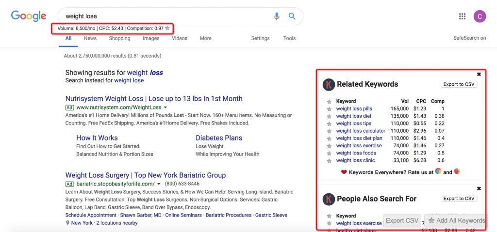 Keywords everywhere搜索关键词分析数据