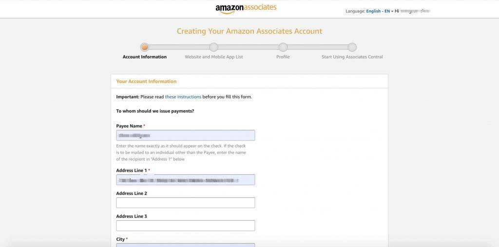 亚马逊Affiliate账号注册账号信息填写