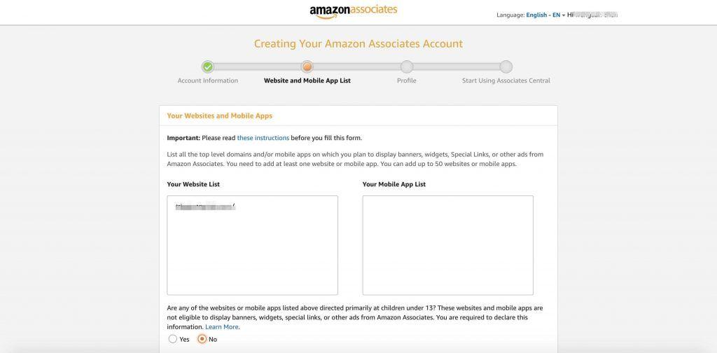 亚马逊Affiliate账号注册-网站和博客信息填写