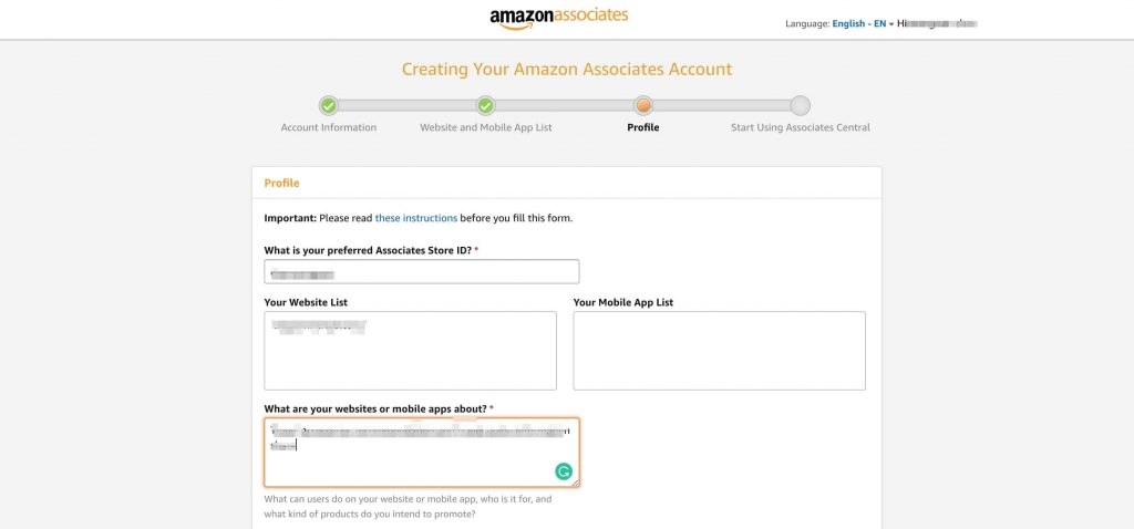 亚马逊Affiliate账号注册-Profile信息填写