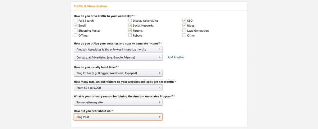 亚马逊Affiliate账号注册-Profile-Traffic&Monetizations信息填写