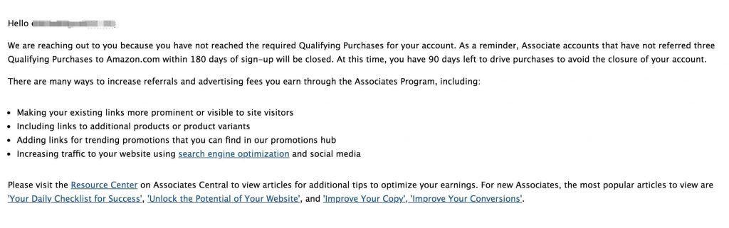 Amazon affiliate 180天3个有效订单未达成通知