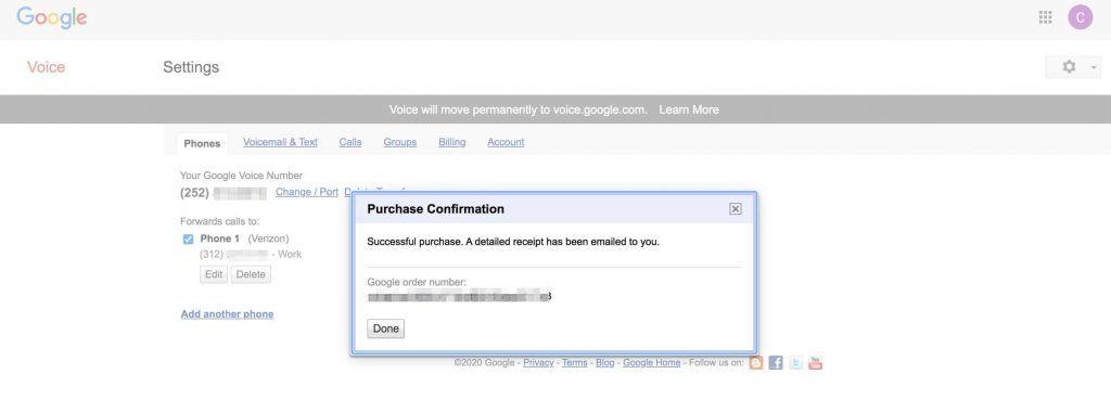 Google Voice号码变更支付完成确认