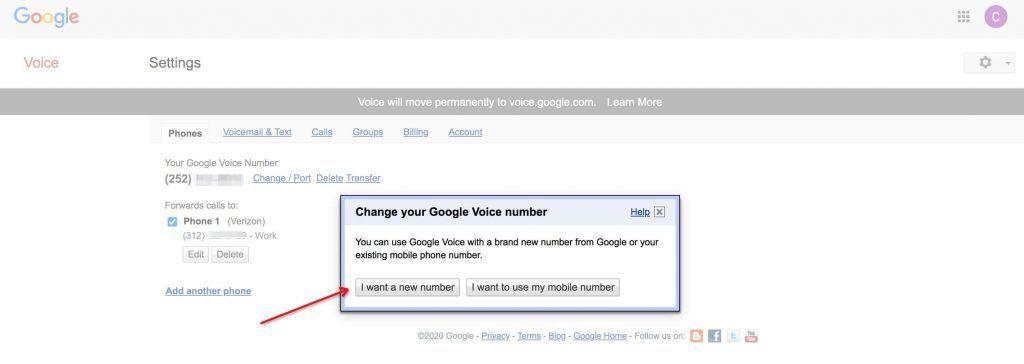 Google Voice号码变更确认