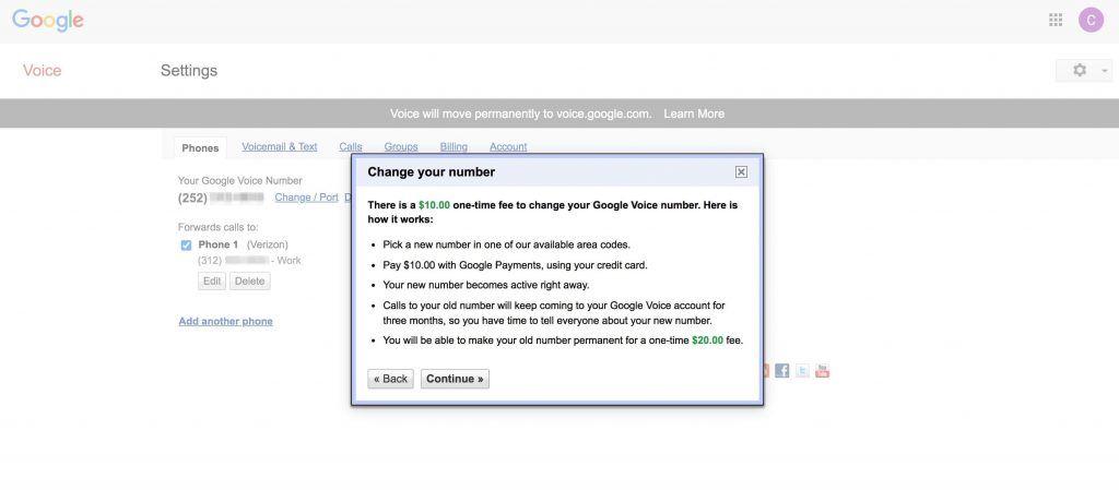 Google Voice号码变更费用确认