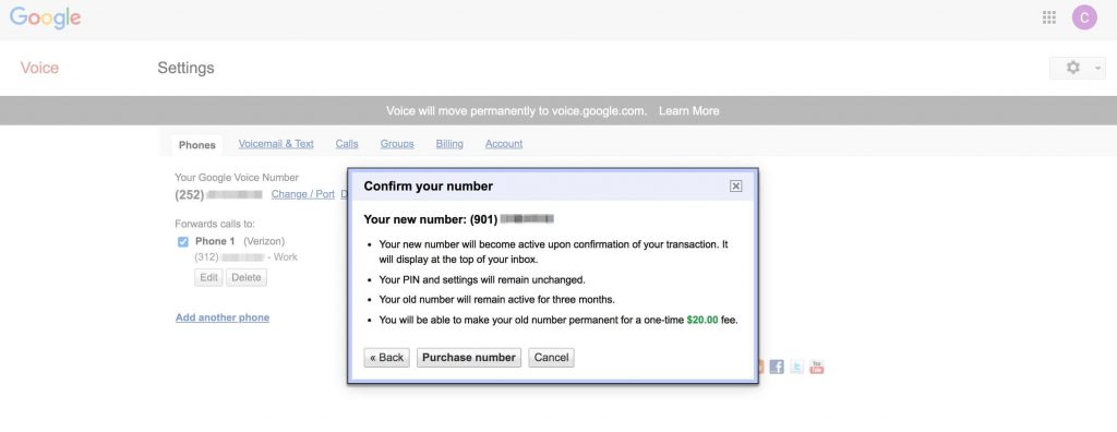 Google Voice新号码购买确认