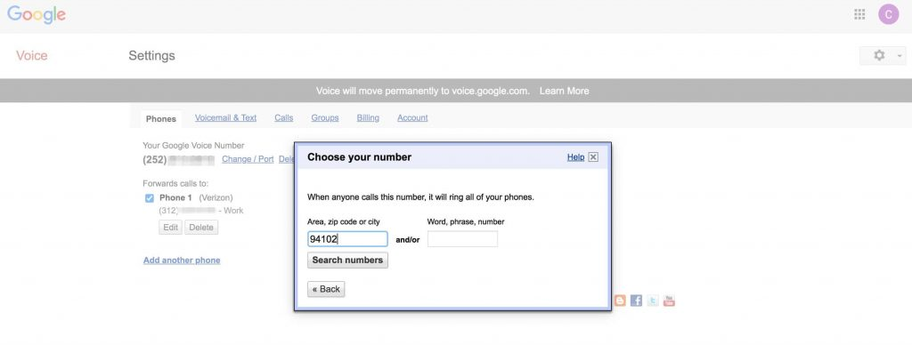 Google Voice变更号码查找