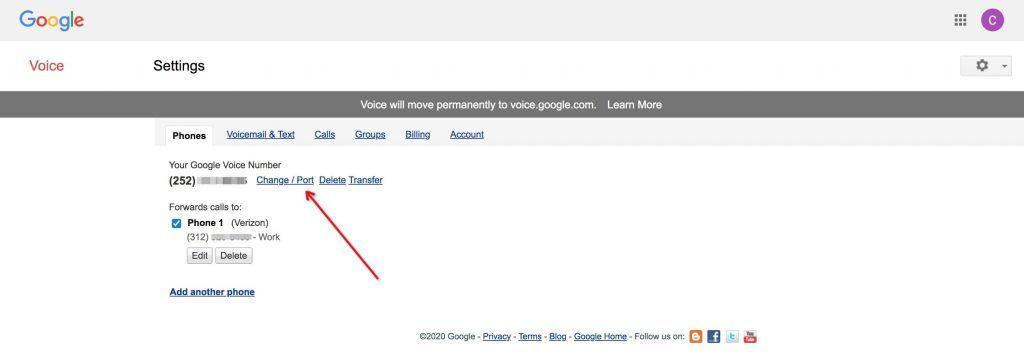 Google Voice号码变更设置