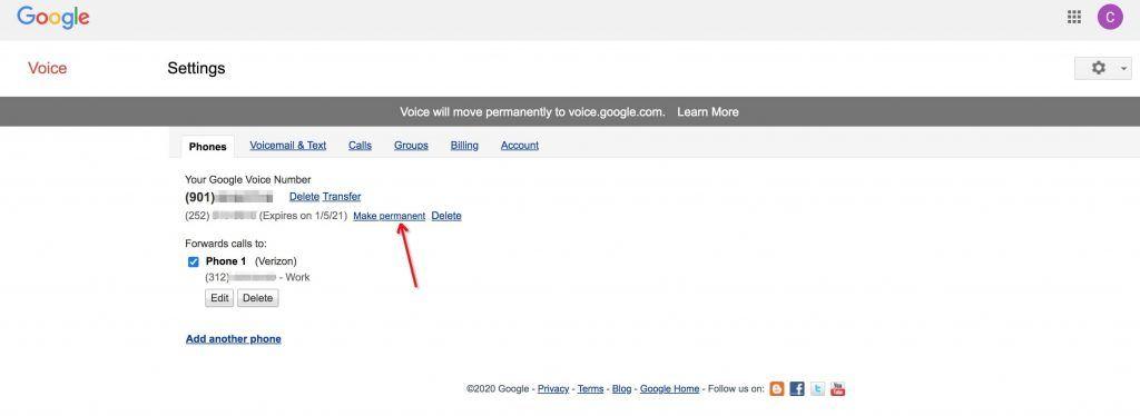 Google Voice号码设置成永久号