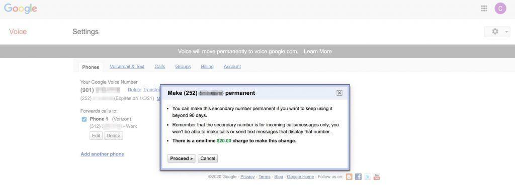 Google Voice永久号购买确认