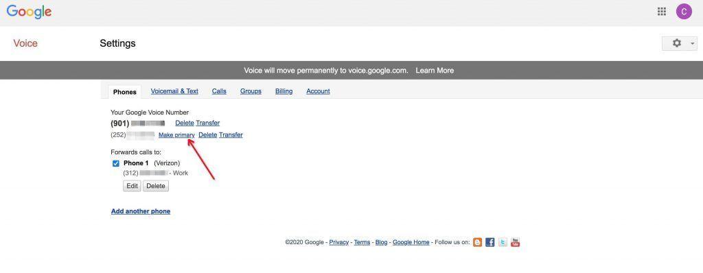 Google Voice号码设置成主号