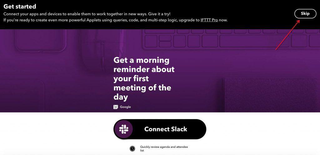 IFTTT账号登录初始化界面