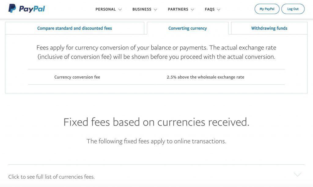 PayPal货币兑换费率