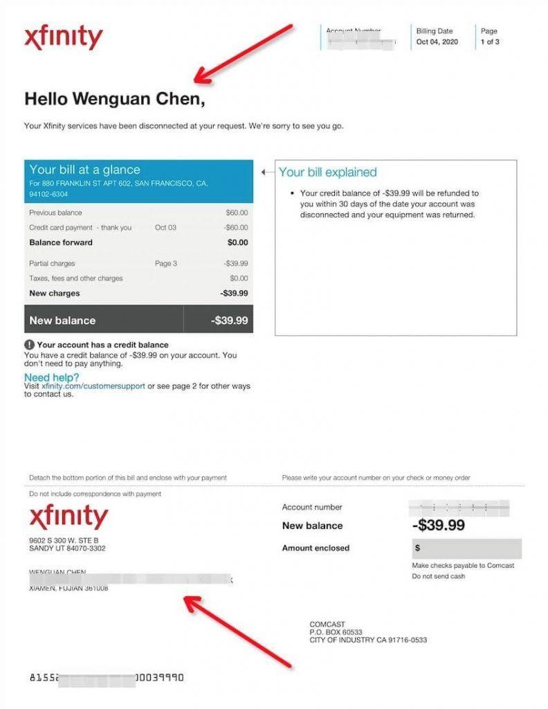 Paypal认证Xfinity住址信息证明