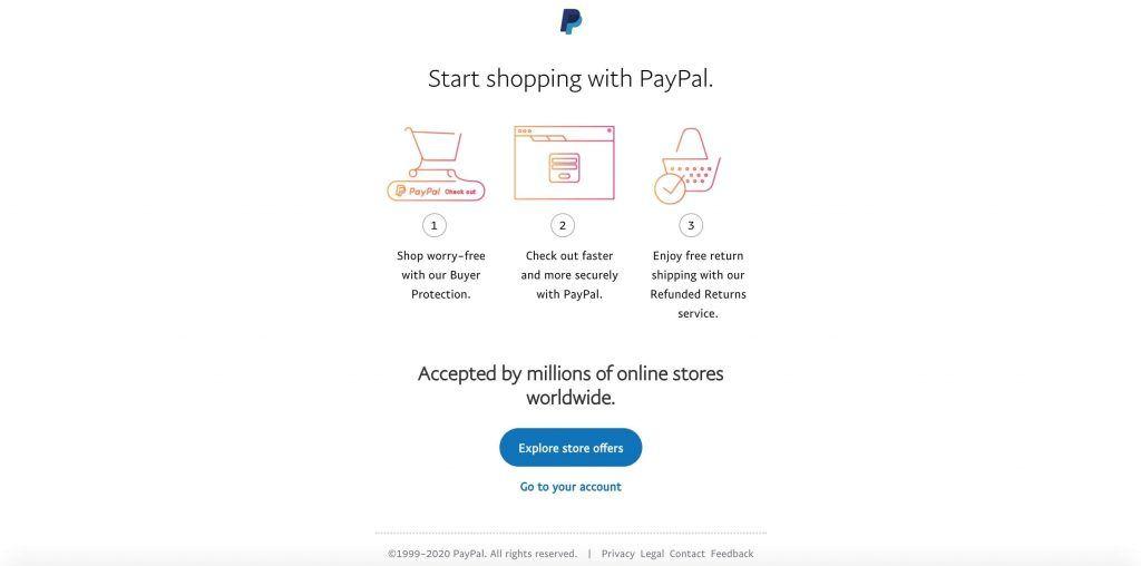 PayPal账号注册完毕